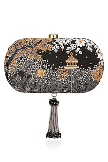 Black Sequins and Crystal Work Oval Clutch by Lovetobag
