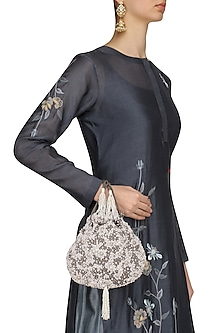 Dove Grey Pearl Embroidered Potli Bag by Lovetobag