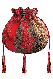 Crimson Red and Gold Japanese Beads Potli Bag by Lovetobag