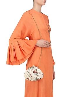 Ivory Multi Saffron Pouch Clutch