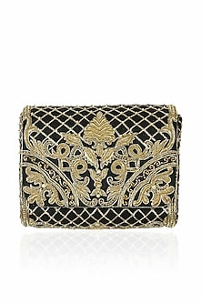 Black and gold zardozi and beads embroidered flap over clutch by Lovetobag