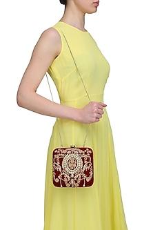 Rust Beads and Dabka Zardosi Embroidered Aphrodite Box Clutch by Lovetobag