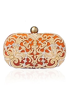 Rust Beads and Dabka Embroidered Oval Box Juno Clutch by Lovetobag
