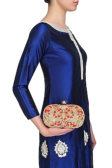 Rust Beads and Dabka Embroidered Oval Box Juno Clutch