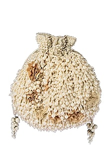 Beige Pearls And Zardosi Embroidered Rhea Bucket Pouch by Lovetobag