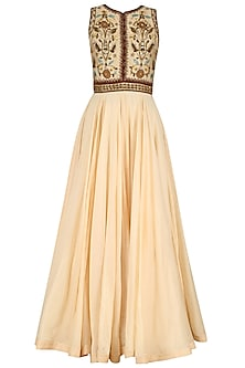 Cream Floral Embroidered Anarkali Set