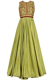 Green Floral Embroidered Anarkali Set