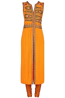 Orange Floral Embroidered Straight Kurta Set