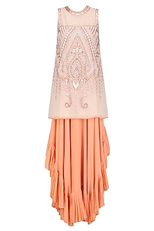 Cream Embroidered Short Tunic and Peach Asymmetric Skirt Set