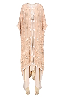Cream Floral Embroidered Tunic and Kaftan Style Cape Set