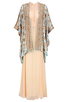 Light Peach Flowy Dress and Turquoise Blue Embroidered Jacket Set
