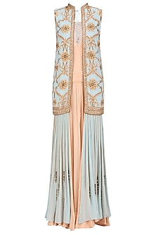 Peach Quartz Pleated Dress and Blue Embroidered Shirt Style Jacket Set