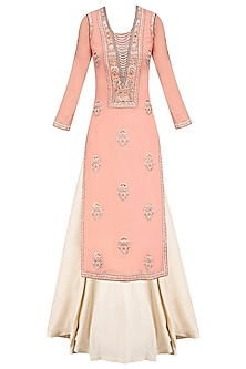 Old Rose Embroidered Long Kurta and Skirt Set
