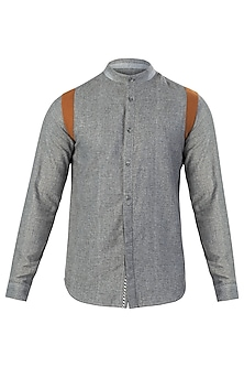 Grey Chinese Collar Shirt by LACQUER Embassy