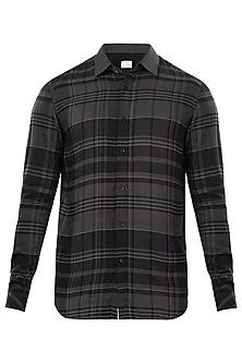 Dark Grey Checkered Print Shirt