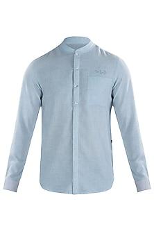 Light Blue Crushed Placket Shirt