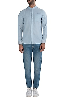 Light Blue Crushed Placket Shirt by LACQUER Embassy