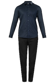 Navy Blue Striped Shirt by LACQUER Embassy