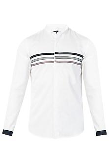 White Three Striped Shirt