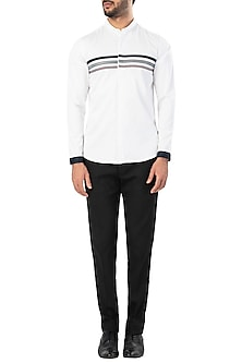 White Three Striped Shirt by LACQUER Embassy
