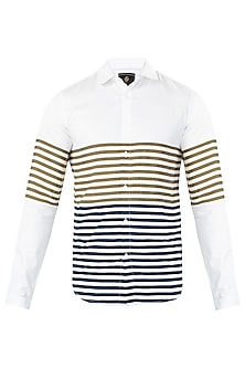 White Dual Color Panel Striped Shirt