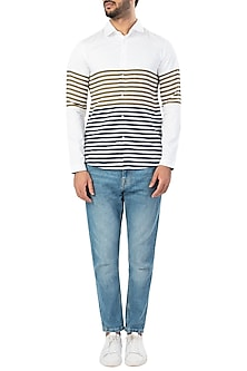 White Dual Color Panel Striped Shirt by LACQUER Embassy