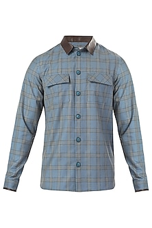 Blue and Brown Checkered Shacket by LACQUER Embassy