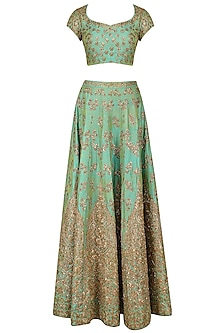 Mint Green and Gold Floral Embroidered Lehenga Set