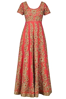 Orange and Gold Jaal Embroidered Anarkali Set