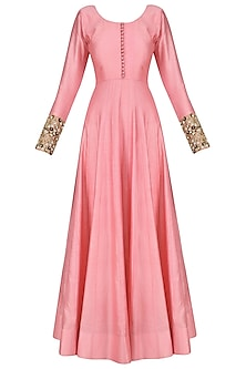 Pink Anarkali Set with Floral Embroidered Dupatta