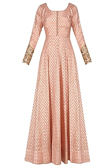 Peach Anarkali Set with Floral Embroidered Dupatta