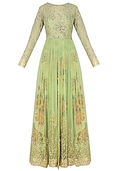 Dusty Green Floral Embroidered Anarkali Gown