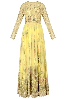 Lemon Yellow Floral Embroidered Anarkali Gown