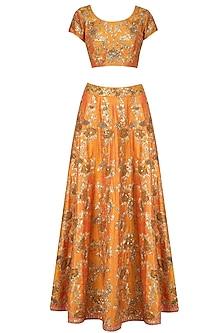 Orange and Gold Embroidered Kalidaar Lehenga Set by Kylee