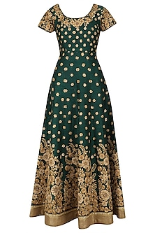 Bottle Green and Gold Floral Work Anarkali Set