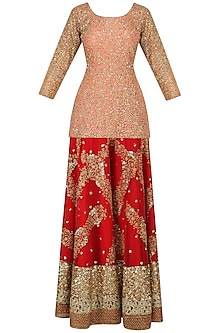 Salmon Pink Sequinned Kurta with Red Sharara Pants