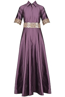 Mauve Floral Waistband Collared Gown