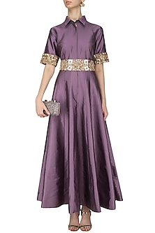 Mauve Floral Waistband Collared Gown by Kylee