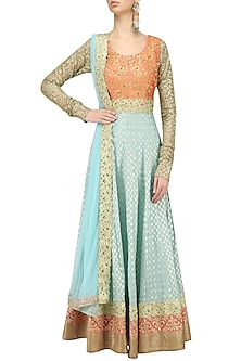 Mint Blue and Peach Embroidered Anarkali Set by Kylee