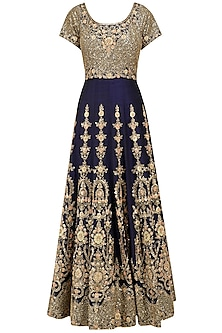 Navy and Peach Embroidered Anarkali Set