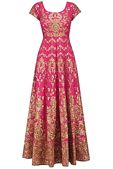 Magenta and Beige Embroidered Anarkali Set