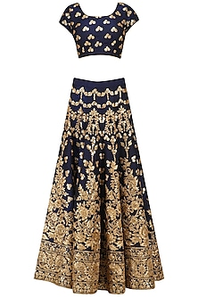 Navy and Gold Embroidered Lehenga Set