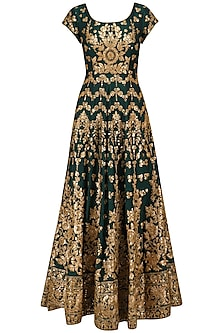 Bottle Green Embroidered Anarkali Set