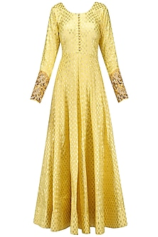 Lemon Embroidered Foil Anarkali Set by Kylee
