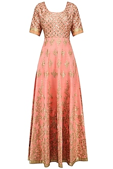 Peach and Light Green Embroidered Anarkali Set