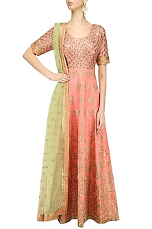 Peach and Light Green Embroidered Anarkali Set by Kylee