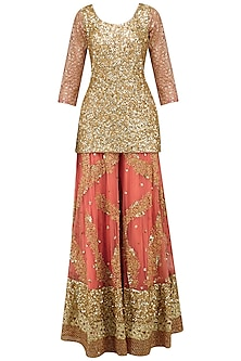 Salmon Pink Embroidered Sharara Set