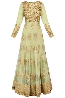 Mint Green Floral Embroidered Anarkali Set