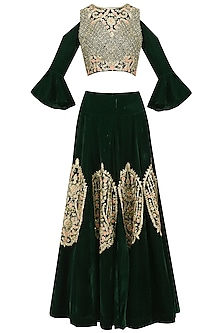 Bottle Green Floral and Paisley Embroidered Crop Top and Skirt Set