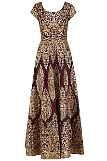 Maroon and Gold Embroidered Anarkali Set